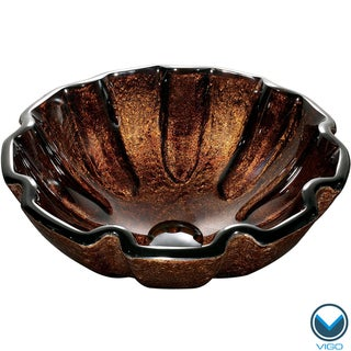 VIGO Walnut Shell Glass Vessel Bathroom Sink
