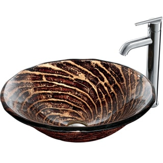 VIGO Chocolate Caramel Swirl Glass Vessel Sink and Single-Hole Faucet Set in Chrome