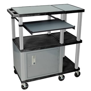 H. Wilson Black/Nickel Extra Wide Presentation Station with Cabinet