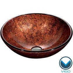 VIGO Mahogany Moon Glass Vessel Bathroom Sink