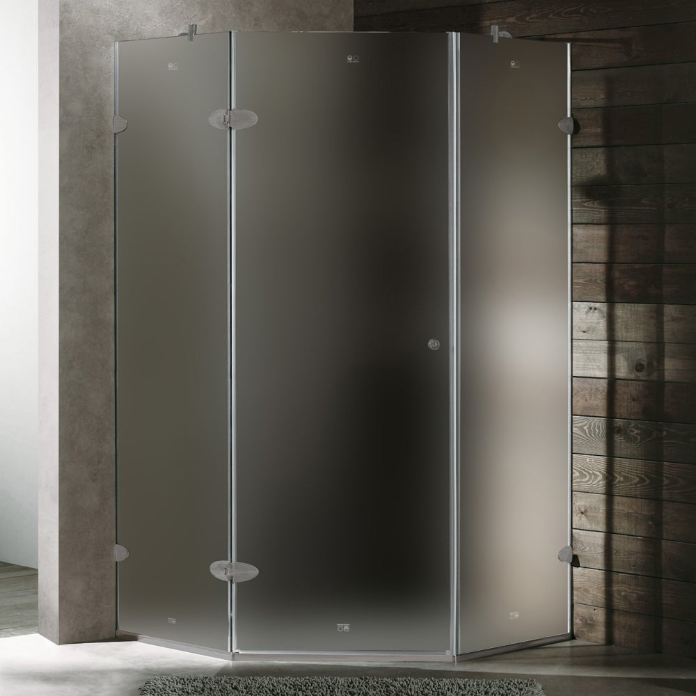 Vigo Neo-ángulo de duchas de cristal sin marco (pulgadas largas pulgadas, pulgadas de largo de ancho)