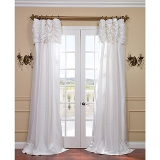 White Ruched Header Faux Silk Taffeta 84-inch Curtain Panel