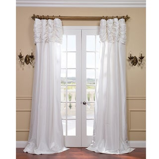White Ruched Header Faux Silk Taffeta Curtain Panel