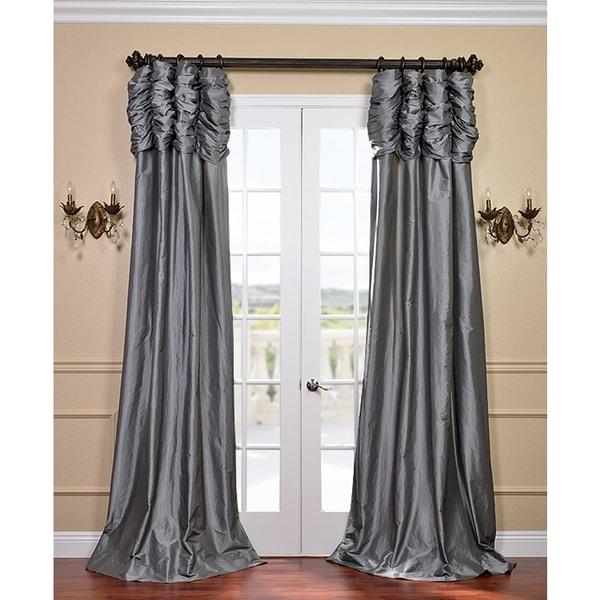 Exclusive Fabrics Platinum Ruched Header Faux Silk Taffeta Curtain ...