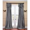 Platinum Ruched Header Faux Silk Taffeta Curtain Panel