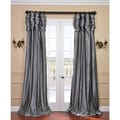 Platinum Ruched Header Faux Silk Taffeta Curtain Panel