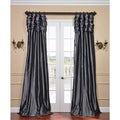 Graphite Ruched Header Faux Silk Taffeta Curtain Panel