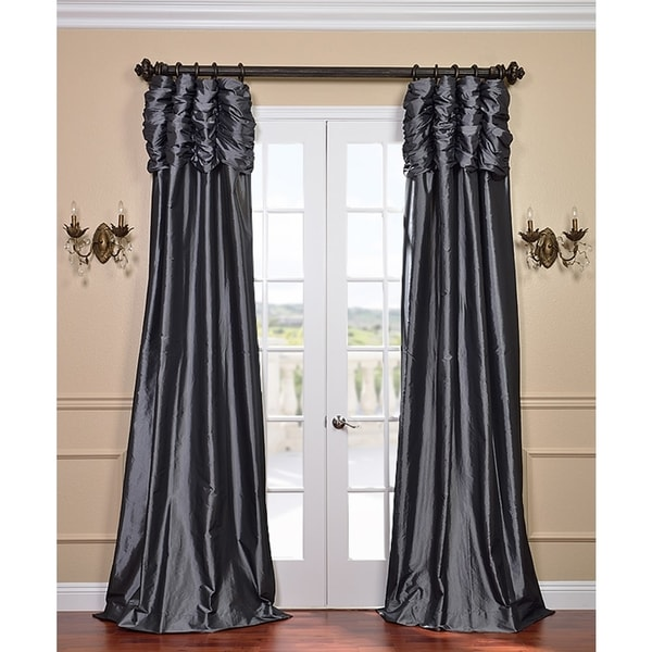 Exclusive Fabrics Graphite Ruched Header Faux Silk Taffeta Curtain Panel