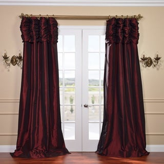 Syrah Ruched Header Faux Silk Taffeta 96-inch Curtain Panel