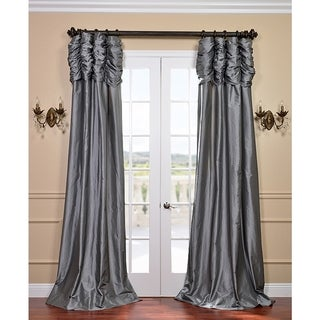 Graphite Ruched Header Faux Silk Taffeta Curtain Panel 84-inch