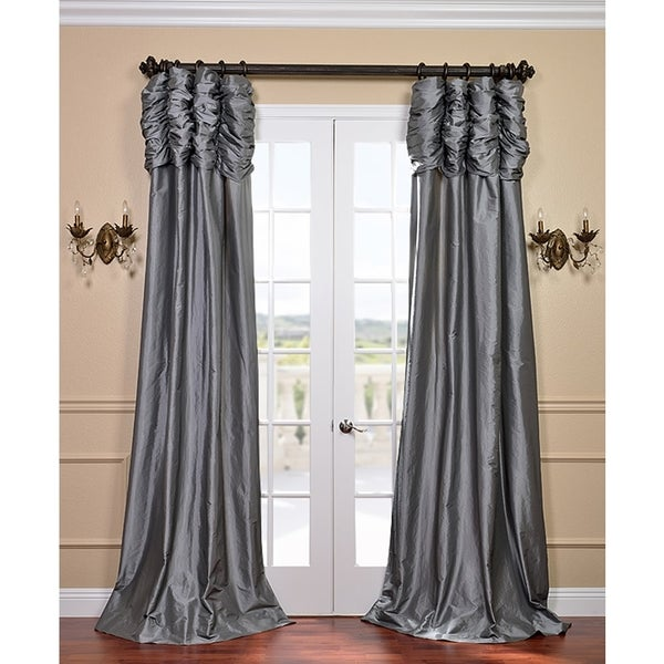 Exclusive Fabrics Graphite Ruched Header Faux Silk Taffeta Curtain Panel 84-inch