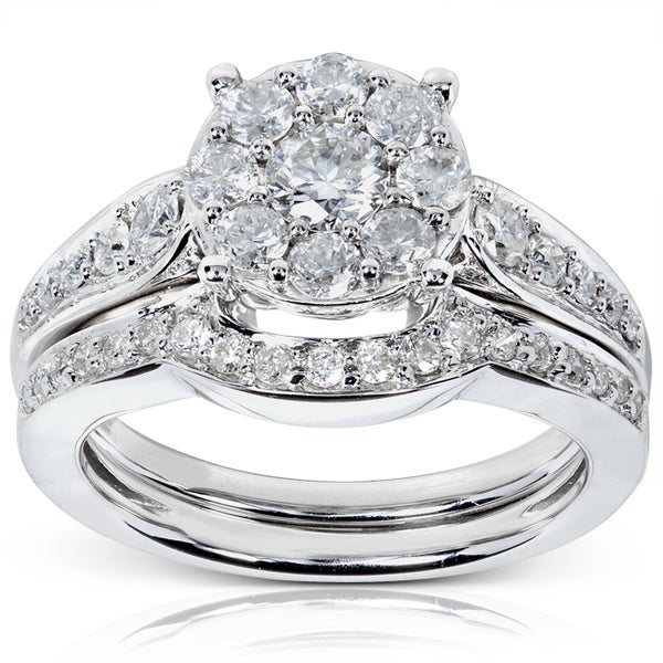Annello 14k White Gold 7/8ct TDW Diamond Bridal Rings Set (H-I, I1-I2)