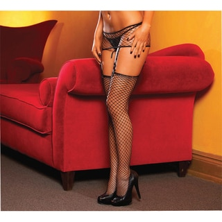 Hustler Women's Black Industrial Net Mini and Thigh High Set