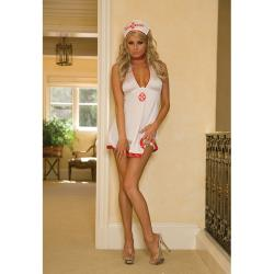 Hustler Women's White-and-red Satin Naughty Nurse Bedtime Costume