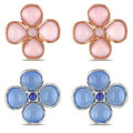 Miadora Sterling Silver Flower Gemstone Earrings