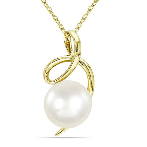Miadora 10k Yellow Gold White Cultured Freshwater Pearl Fashion Necklace (8-8.5 mm)