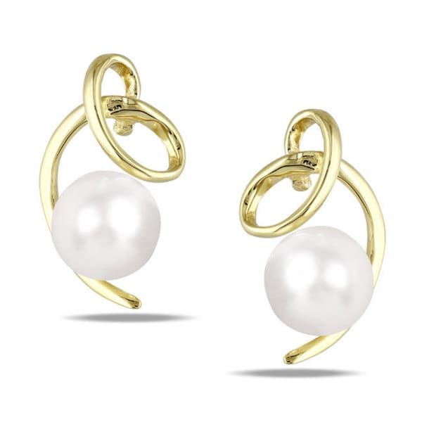 Miadora 10k Yellow Gold White Cultured Freshwater Pearl Stud Earrings (5.5-6 mm)