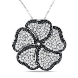 Miadora Sterling Silver White and Black Cubic Zirconia Flower Necklace (13ct TDW)