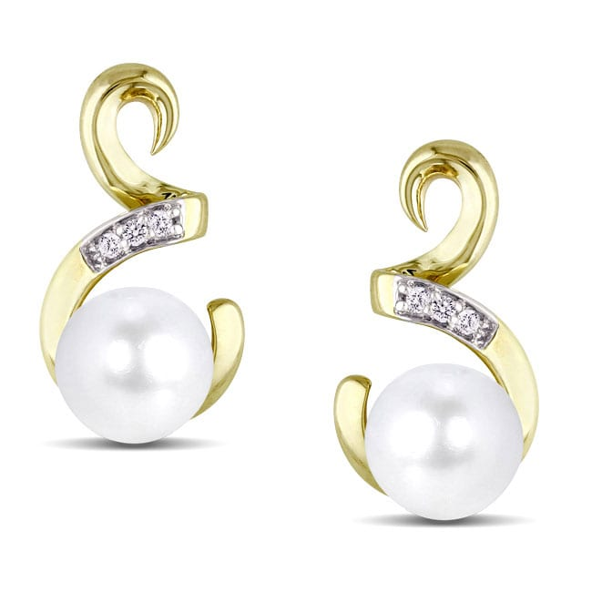 Miadora 10k Yellow Gold Freshwater Pearl and Diamond Accent Earrings (5.5-6 mm)