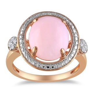 Miadora Pink Silver 2ct TGW Pink Opal and Diamond Accent Ring with Bonus Earrings
