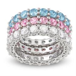 Miadora Sterling Silver Stackable Round-cut Cubic Zirconia 3-piece Eternity Ring Set (10 4/5ct TGW)
