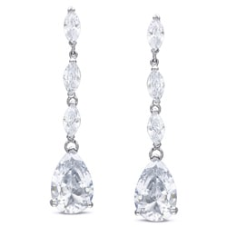 Miadora Sterling Silver Cubic Zirconia Drop Earrings (25 2/5ct TGW)