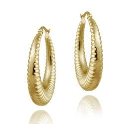 Mondevio 18k Gold over Stainless Steel Circle Hoop Earrings