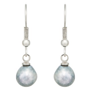 Pearlyta Sterling Silver Grey Akoya Baroque Pearl Earrings (7-8 mm)