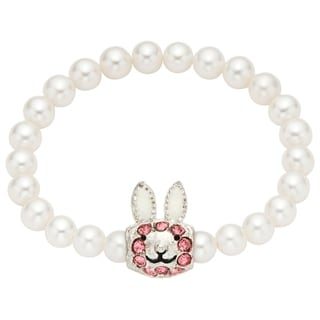 Pearlyta Pearl Rabbit Charm Center Kids Stretch Bracelet