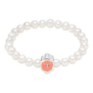 Pearlyta 25-pearl Charm-centered Enamel Baby Stretch Bracelet (4-5mm)