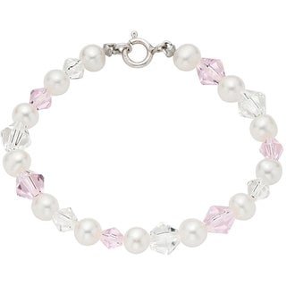Pearlyta Pearl White and Pink Crystal Kid's Bracelet