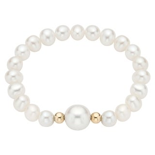 Pearlyta 14k Gold Bead Pearl Baby Stretch Bracelet with White Center (4-6 mm)