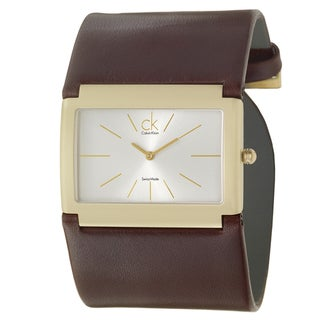 Calvin Klein Women's 'Dress' Yellow Goldplated Stainless-Steel and Leather Wide-Strap Quartz Watch