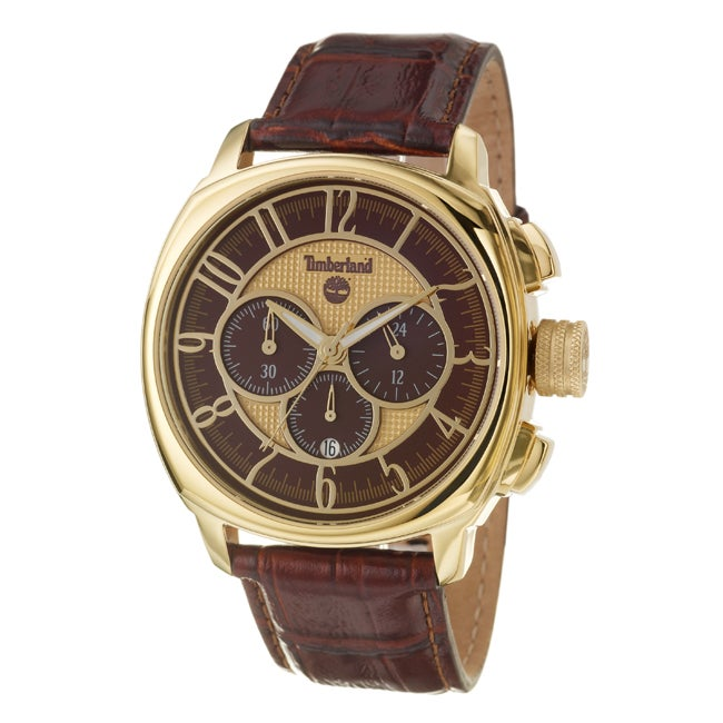 Timberland Men's 'Portosera ' Yellow Goldplated Stainless Steel and Leather Quartz Chronograph Watch