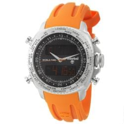 Timberland Men's 'Steprock' Stainless-Steel and Orange Silicon Quartz Digital Watch