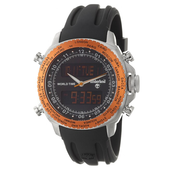 Timberland Men's 'Steprock' Stainless Steel and Silicon Quartz Digital Watch