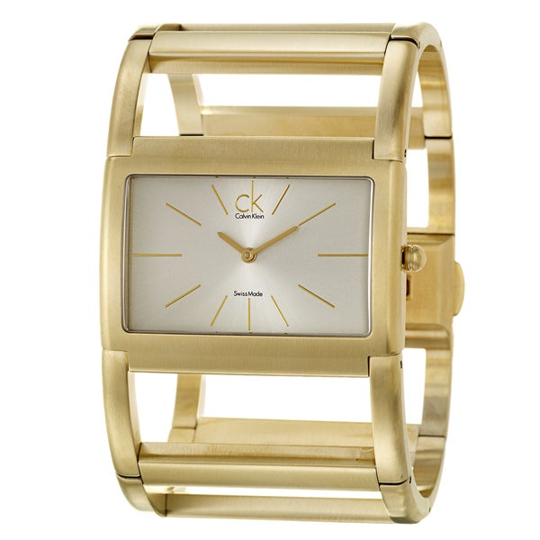 Calvin Klein Women's 'Dress' Yellow Goldplated Stainless Steel Quartz Watch