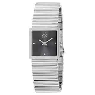 Calvin Klein Women's 'Spotlight' Dark-Gray-Dial Stainless-Steel Quartz Diamond Watch