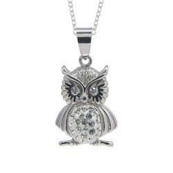 Sterling Silver Cubic Zirconia Owl Pendant