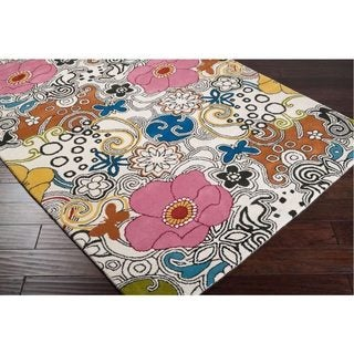 Hand-tufted Contemporary Multi Colored Floral Bungay New Zealand Wool Rug (9' x 13')