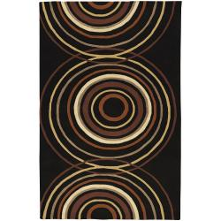 Hand-tufted Black Contemporary Circles Brierley Wool Geometric Rug (9' x 12')
