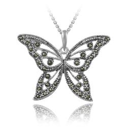 Glitzy Rocks Sterling Silver Marcasite Butterfly Necklace