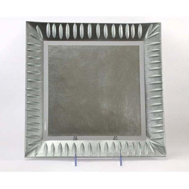 Silver Etched Leaf Square Platter
