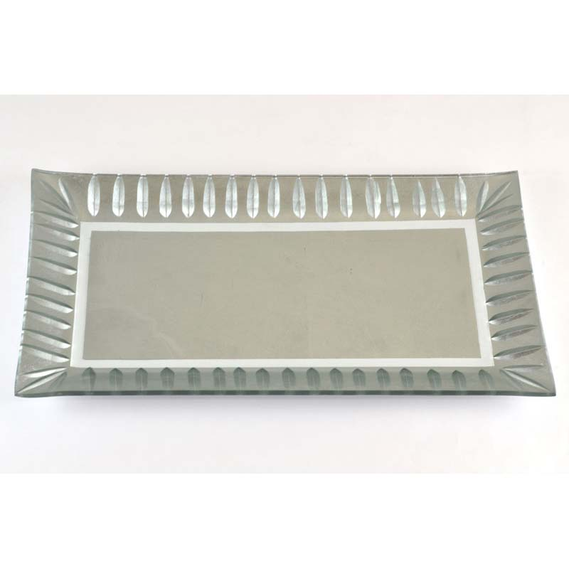 Silver Etched Leaf Rectangular Platter