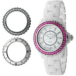 Peugeot Women's White Swiss Ceramic Interchangeable Bezel Set Watch