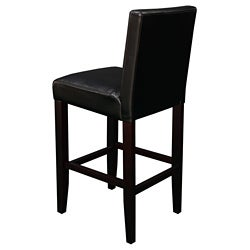 Villa Faux Leather Black Counter Stools (Set of 2)