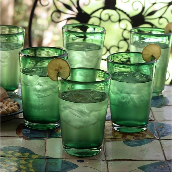 Set of 6 Blown Glass 'Emerald Angles' Drinking Glasses (Mexico)