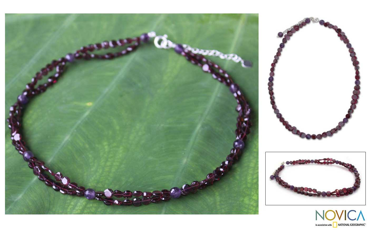 Sterling Silver 'Grape Garland' Garnet Amethyst Necklace (Thailand)
