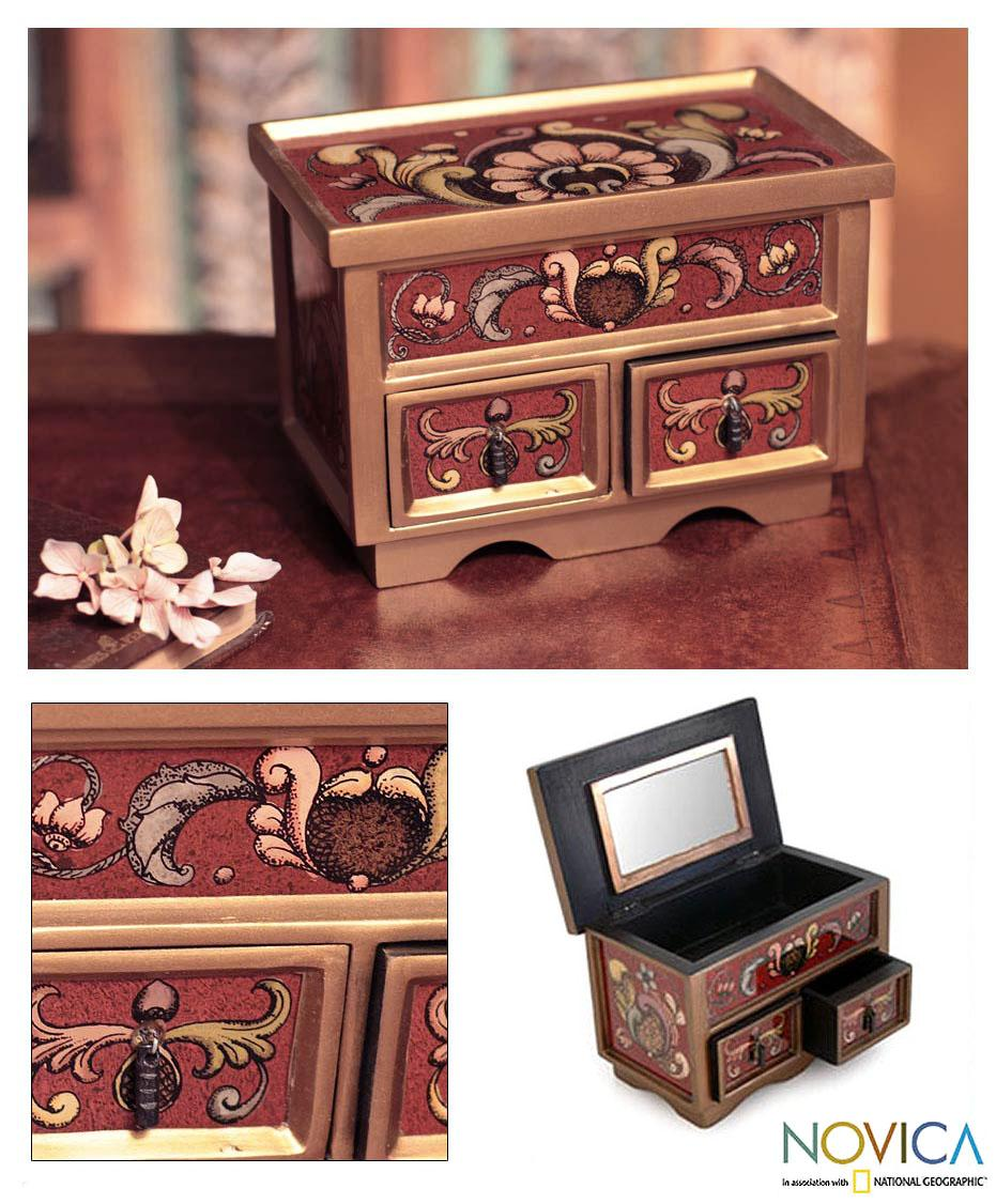 Painted Glass 'Ruby Majesty' Chest of Drawers (Peru)