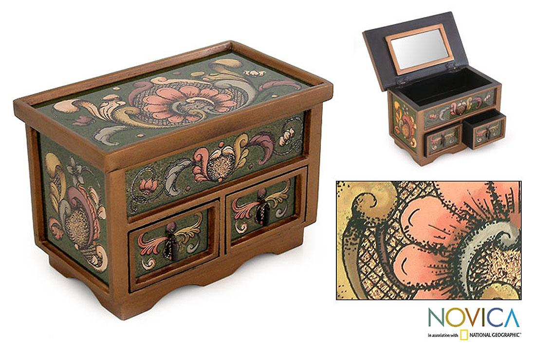 Painted Glass 'Jade Majesty' Chest of Drawers (Peru)
